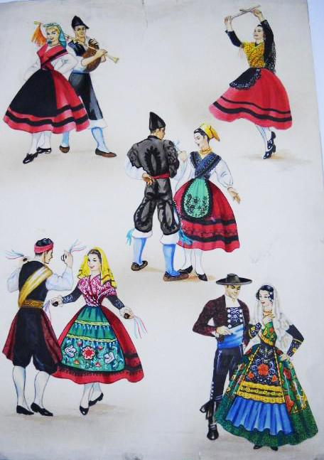 Postal. Trajes regionales tradicionales asturias.